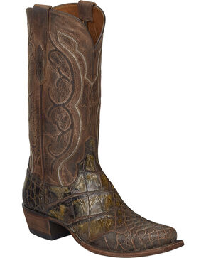 Lucchese Handmade Chocolate Giant Gator Van Cowboy Boots - Snip Toe, Chocolate, hi-res
