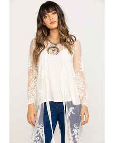 Flying Tomato Women's Ivory Lace Duster Kimono, Ivory, hi-res