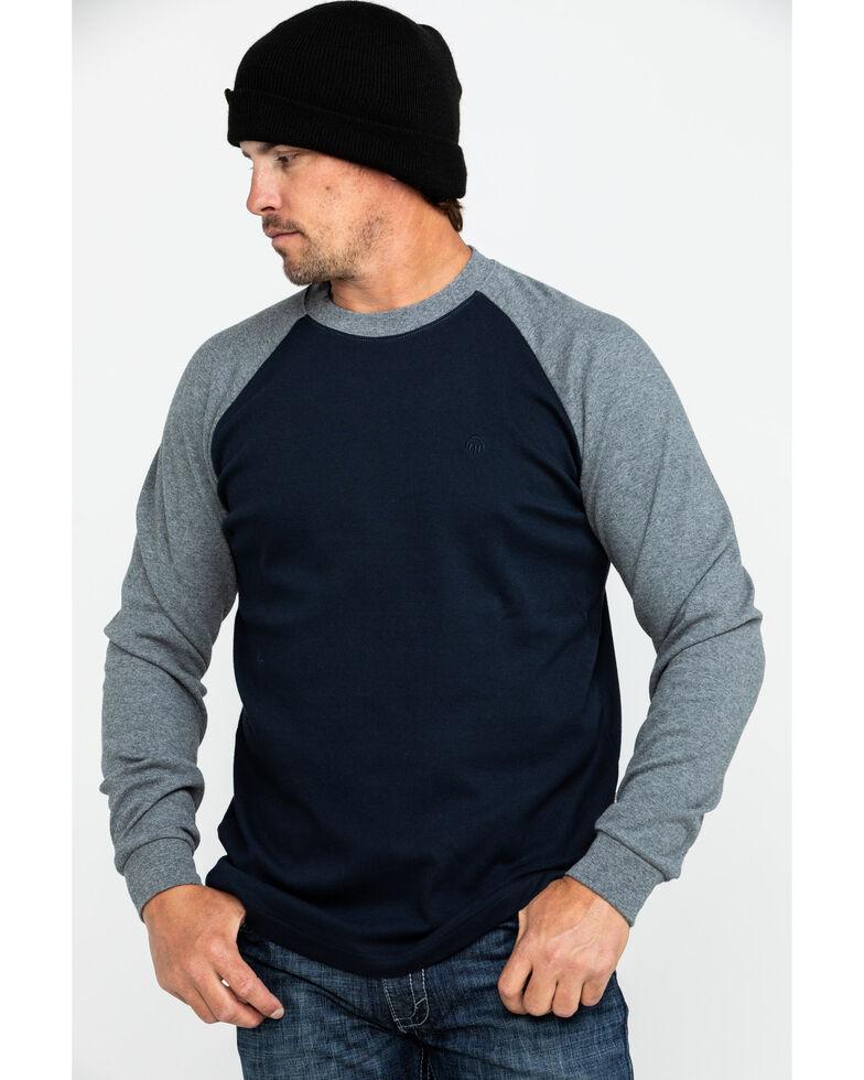 Wolverine Men's Brower Baseball Long Sleeve Work Shirt, Navy, hi-res