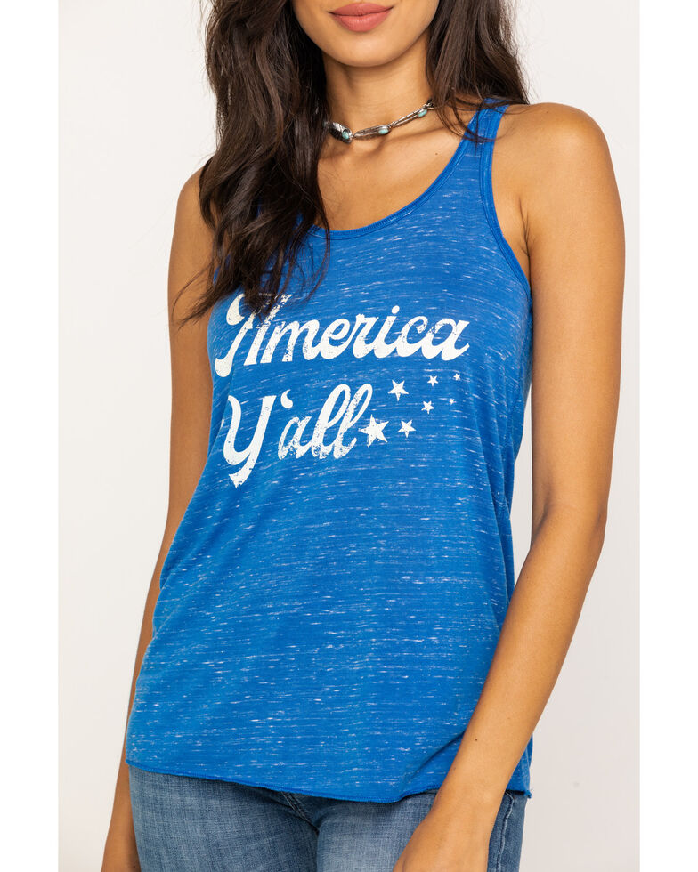 Ail Dee Women's Blue America Y'all Tank Top, Blue, hi-res