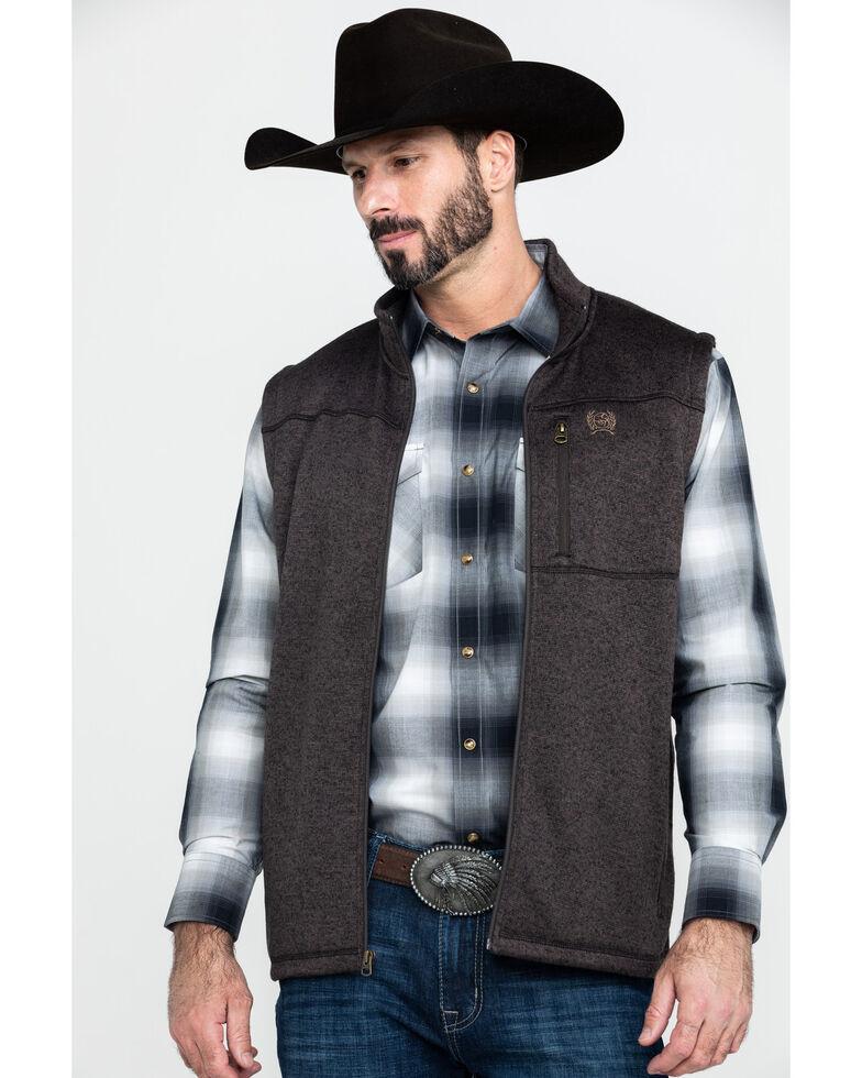 Cinch Men's Brown Full Zip Fleece Sweater Vest , Brown, hi-res