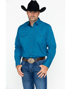Ely Cattleman Men's Western Woven Ditzy Print Shirt , Turquoise, hi-res