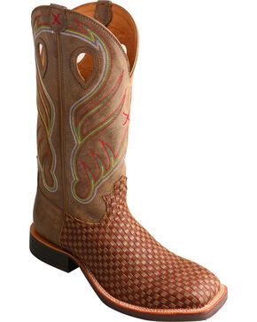 Twisted X Men's Woven Square Toe Western Boots, Brown, hi-res