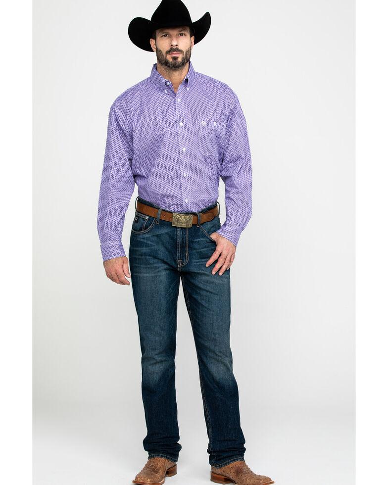 George Strait By Wrangler Men's Multi Geo Print Long Sleeve Western Shirt - Big , Purple, hi-res