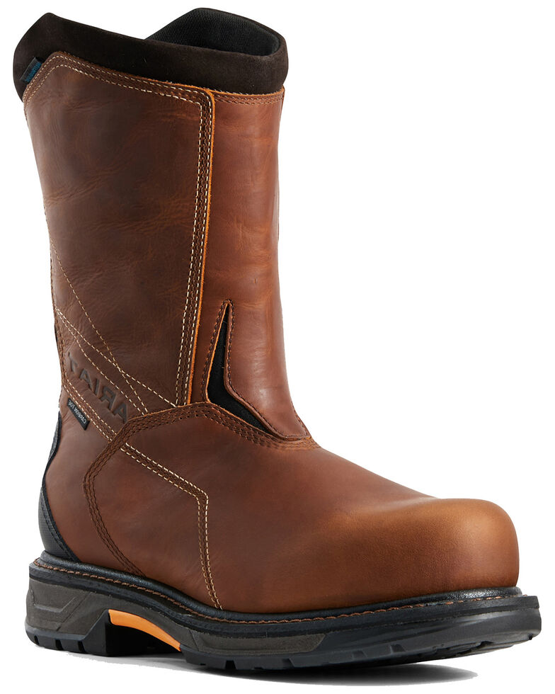 Ariat Men's Waterproof Workhog Western Work Boots - Carbon Safety Toe, Brown, hi-res