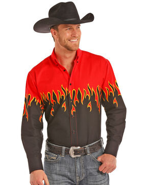 Panhandle Men's Flames Long Sleeve Western Shirt, Red, hi-res