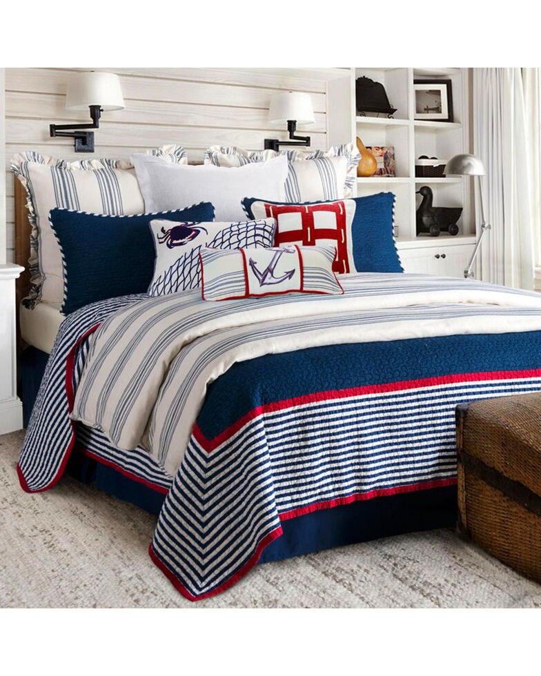 HiEnd Accents 3-Piece Liberty Full/Queen Quilt Set, Navy, hi-res