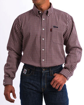 Cinch WRX Men's FR Plaid Long Sleeve Work Shirt - 3X, Burgundy, hi-res