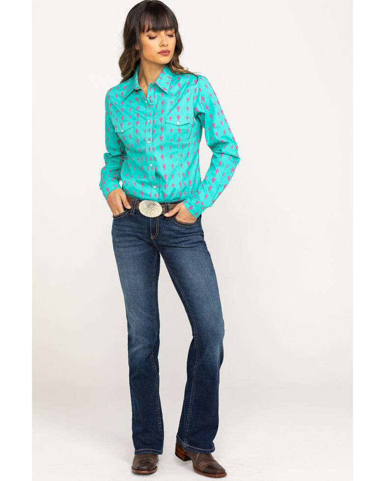 Red Label by Panhandle Women's Aqua Cactus Print Long Sleeve Western Shirt, Aqua, hi-res