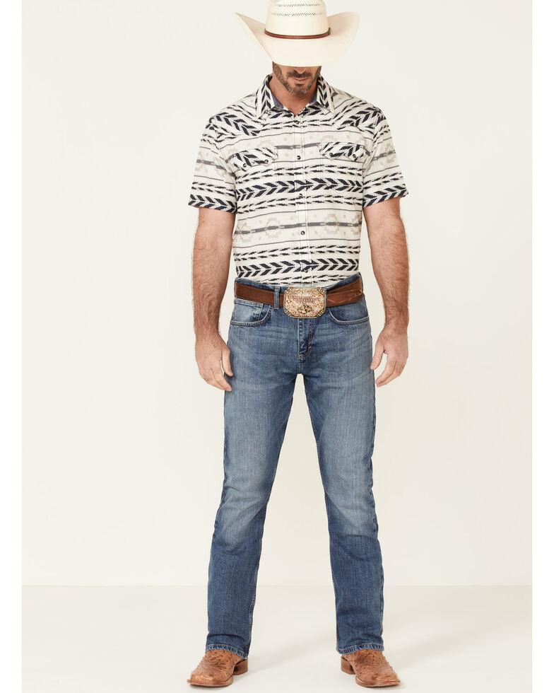 Cody James Men's Chute Aztec Dobby Print Short Sleeve Snap Western Shirt , White, hi-res