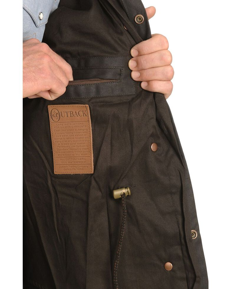 Outback Unisex Short Oilskin Jacket, Brown, hi-res