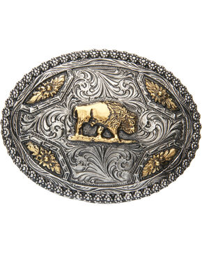 AndWest Men's Oval Brass Buffalo Belt Buckle, Two Tone, hi-res