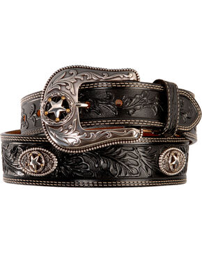 Justin Men's Black Silver Stars Embossed Belt, Black, hi-res