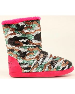 Blazin Roxx Camo Sequin Slipper Booties, Hot Pink, hi-res