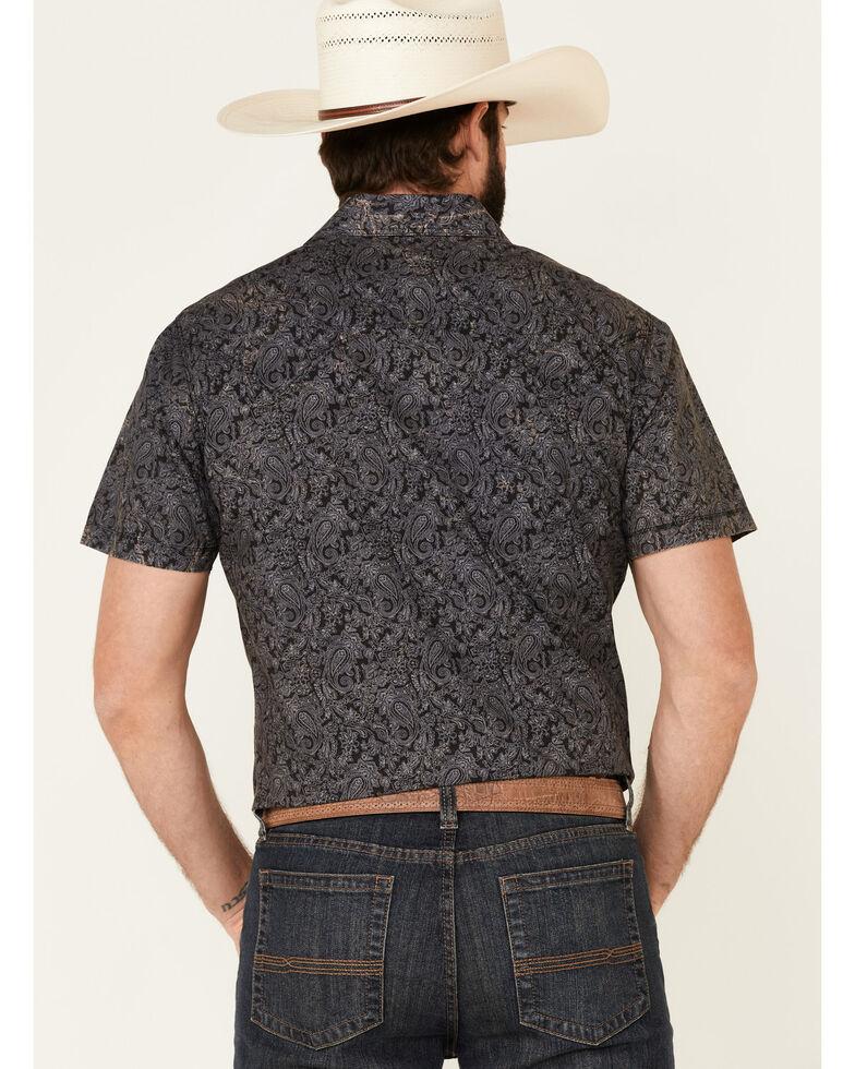 Panhandle Men's Black Paisley Print Short Sleeve Western Shirt , Black, hi-res