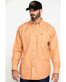Ariat Men's FR Orange Excavator Plaid Long Sleeve Work Shirt , Orange, hi-res
