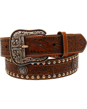 Ariat Men's Floral Tooled Concho Western Belt, Brown, hi-res