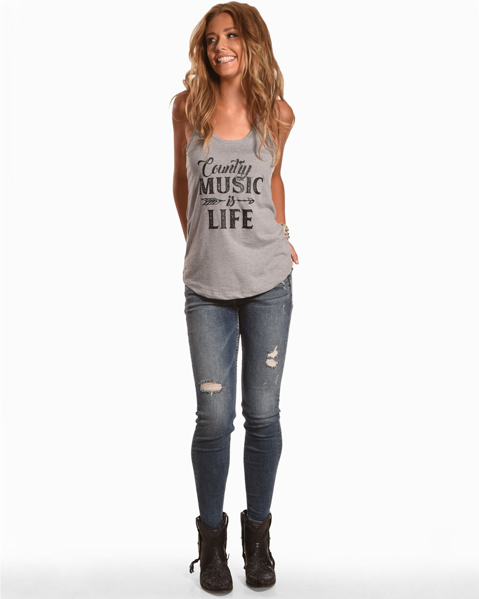 Ali Dee Women's Country Music Is Life Racer Tank, Heather Grey, hi-res