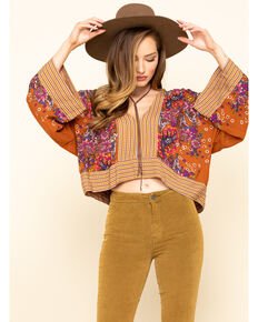 Free People Women's Mix N Match Blouse, Orange, hi-res