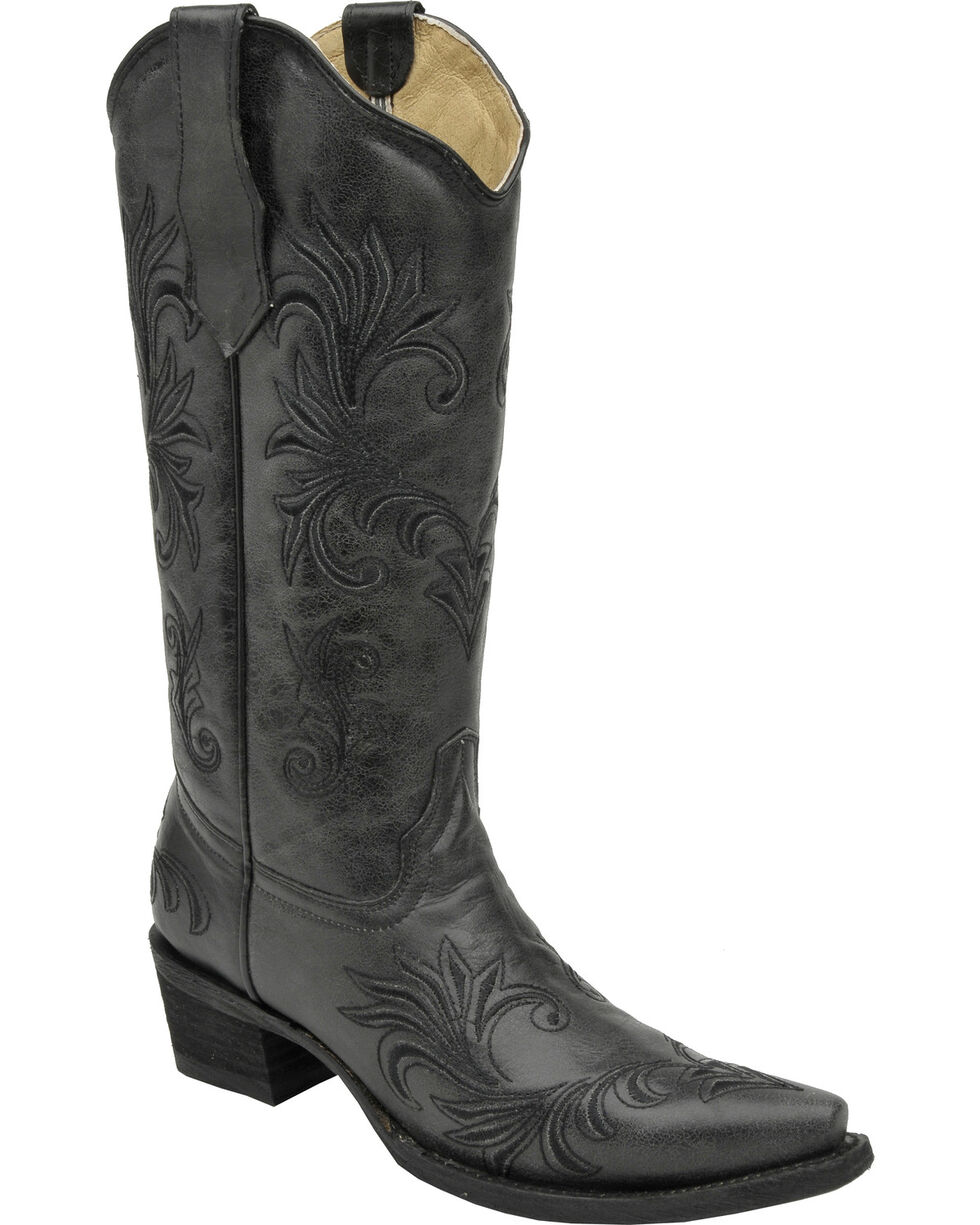 Circle G Women's Filigree Western Boots, Black, hi-res