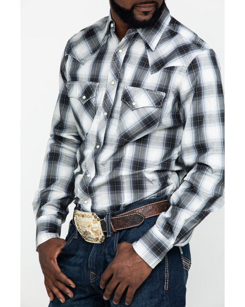 Wrangler Men's Grey Med Plaid Fashion Snap Long Sleeve Western Shirt , Grey, hi-res