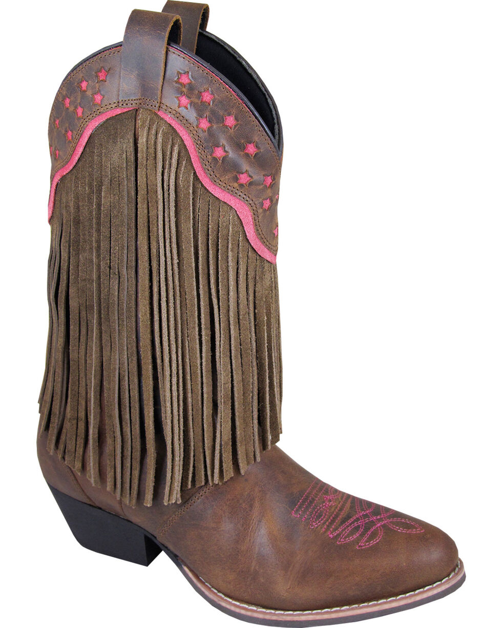 Smoky Mountain Helena Brown Fringe Cowgirl Boots - Medium Toe, Brown, hi-res