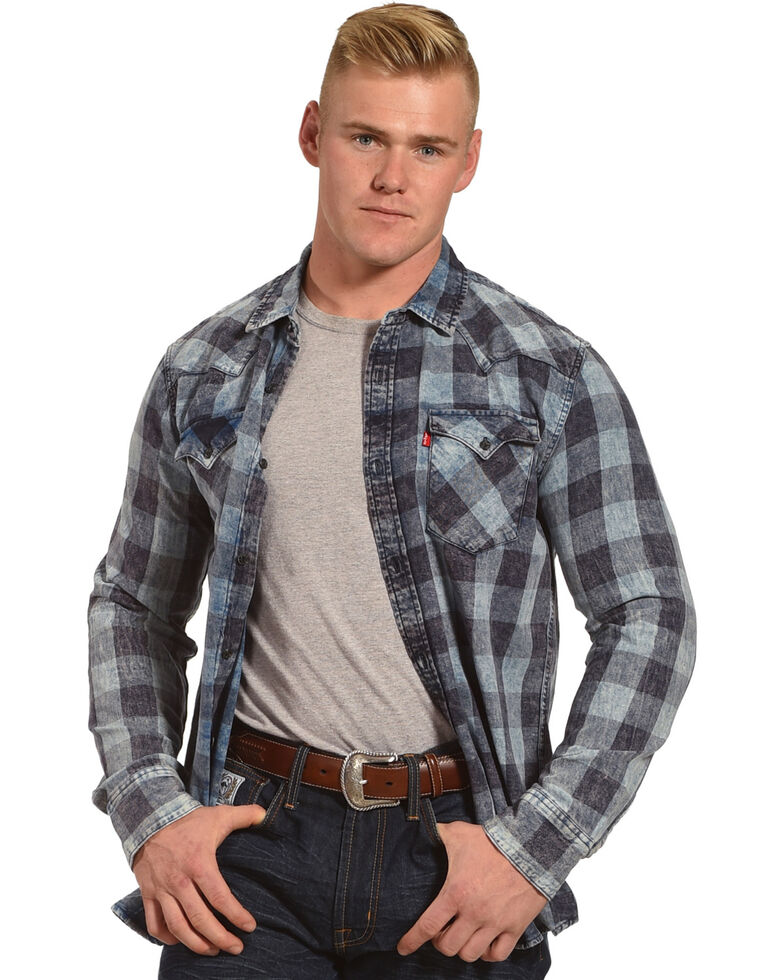 Levi's Men's Blue Bleesh Flannel Long Sleeve Shirt , Blue, hi-res