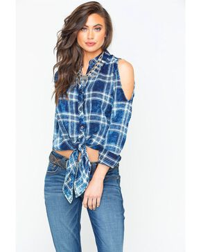 Rock & Roll Cowgirl Women's Indigo Cold Shoulder Plaid Shirt , Indigo, hi-res