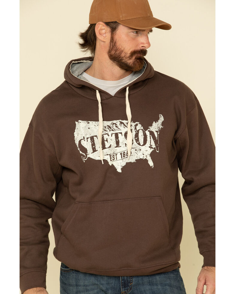 Stetson Men's Brown USA Map With Mountains Graphic Hooded Sweatshirt , Brown, hi-res