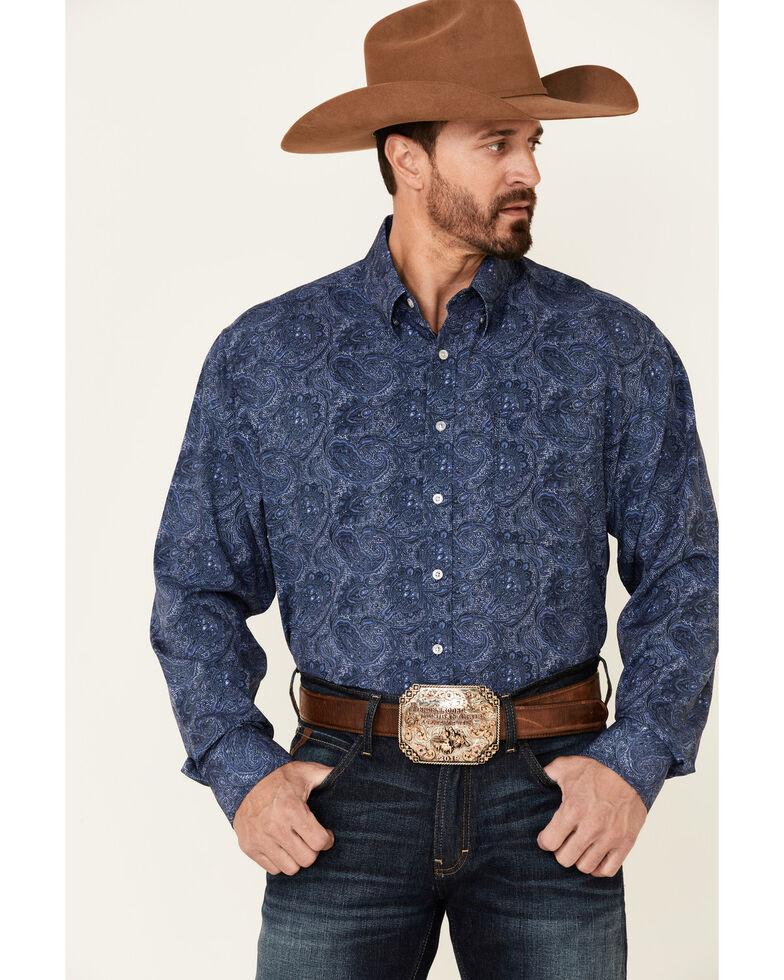 Panhandle Men's Navy Performance Paisley Print Long Sleeve Button-Down Western Shirt , Navy, hi-res