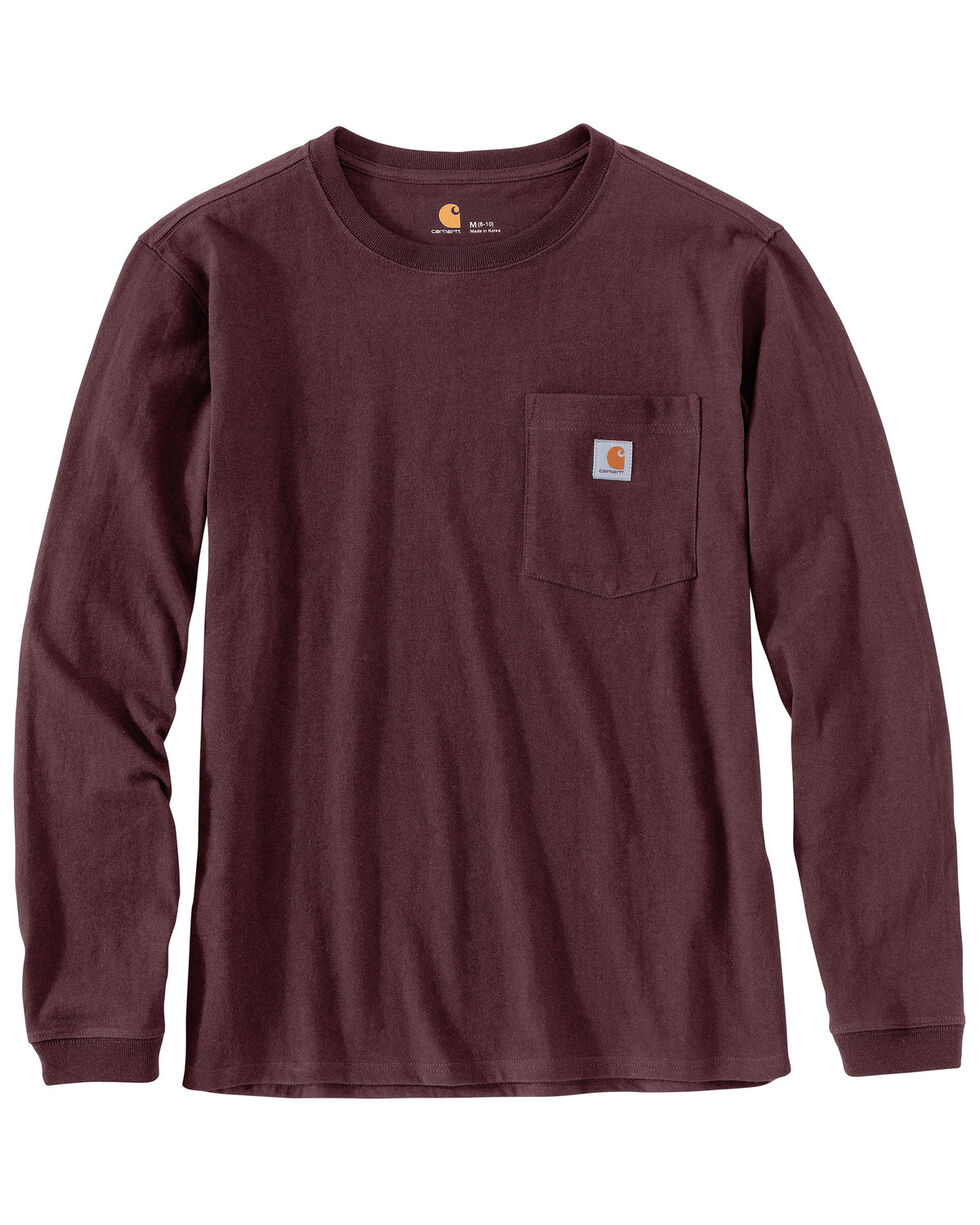 Carhartt Women's WK126 Workwear Pocket Long-Sleeve T-Shirt, Wine, hi-res
