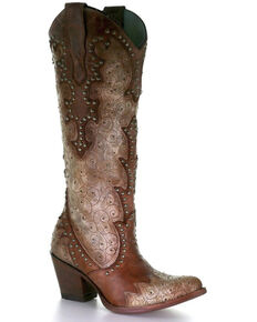 Corral Women's Cognac Embroidery & Studs Western Boots - Snip Toe, Brown, hi-res