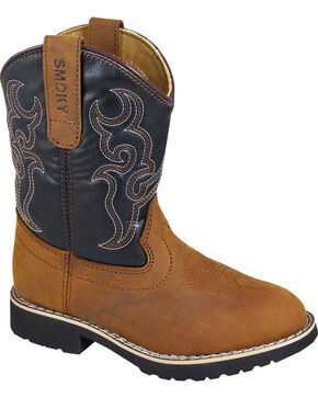 Smoky Mountains Youth Boys' Randy Western Boots - Round Toe , Brown, hi-res