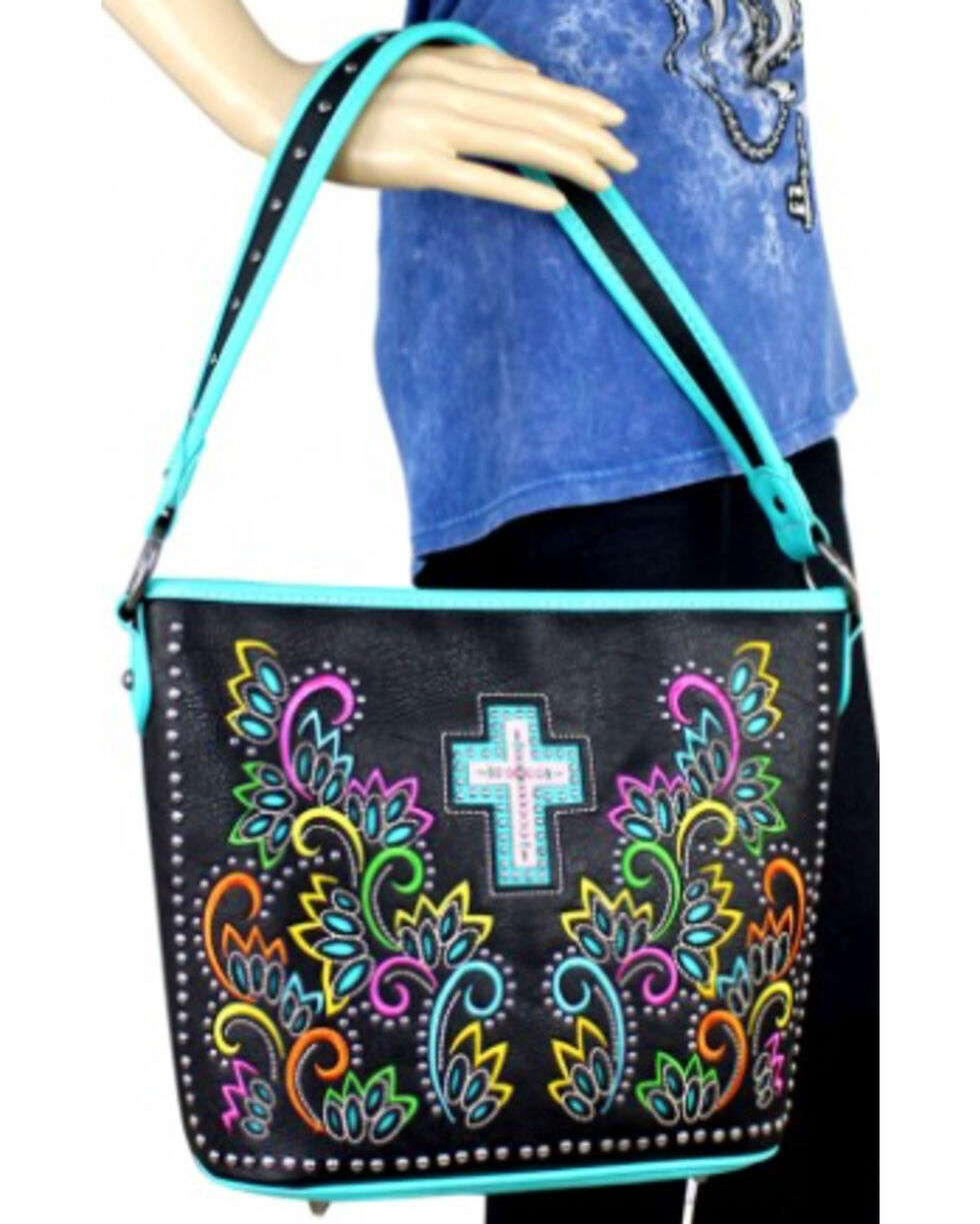Montana West Spiritual Collection Cut-out Pattern with Color Embroidery Handbag, Turquoise, hi-res
