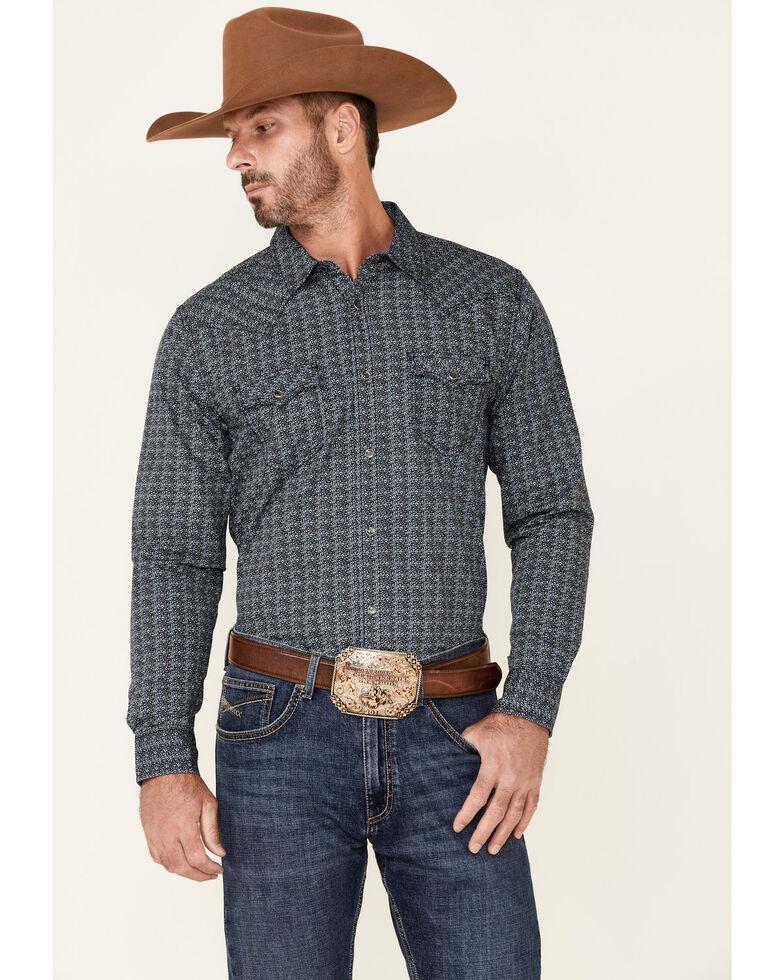 Cody James Men's Finale Abstract Print Long Sleeve Snap Western Shirt , Navy, hi-res