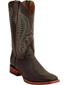 Ferrini Men's Lizard Belly Western Boots - Square Toe , Chocolate, hi-res