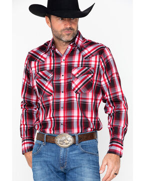 Ely Cattleman Men's Western Woven Textured Plaid Shirt - Big & Tall , Red, hi-res