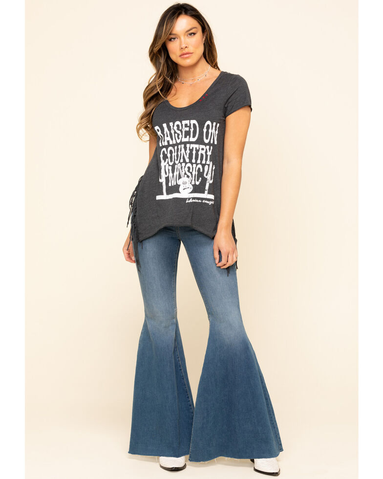 Bohemian Cowgirl Women's Charcoal Raised on Country Fringe Tee, Charcoal, hi-res