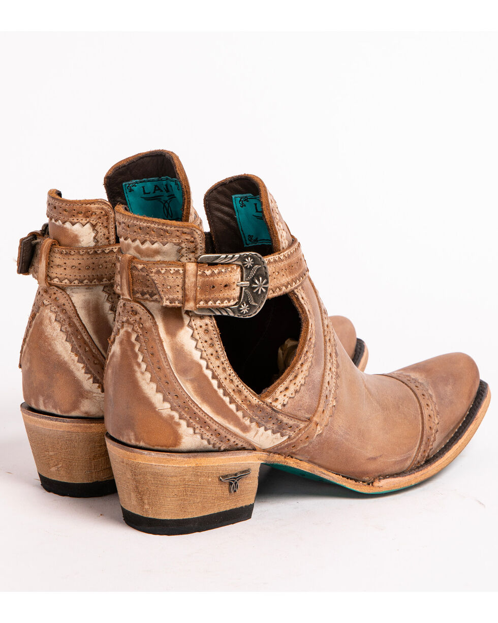 Lane Women's Tan Cahoots Buckle Strap Booties - Snip Toe, Tan, hi-res