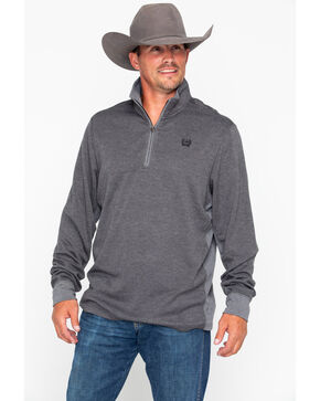 Cinch Men's Charcoal 1/4 Zip Pullover , Charcoal, hi-res