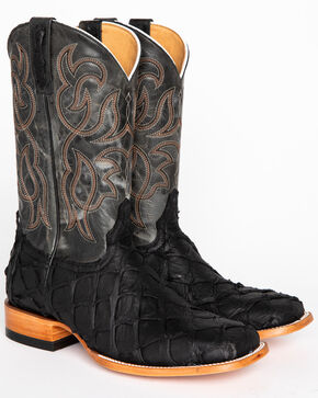 Cody James Men's Matte Black Pirarucu Exotic Boots - Square Toe, Black, hi-res