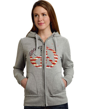 Roper Women's Americana Peace Zip-Up Hoodie, Grey, hi-res