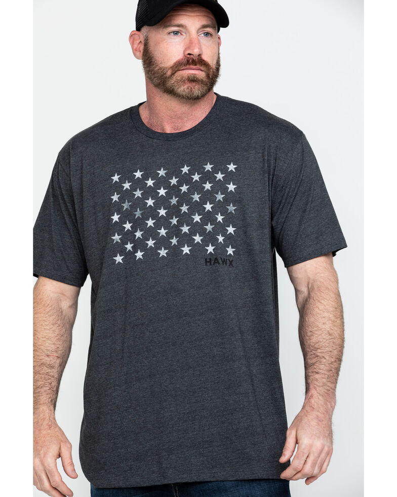 Hawx® Men's Charcoal 50 Stars Graphic Work T-Shirt , Charcoal, hi-res