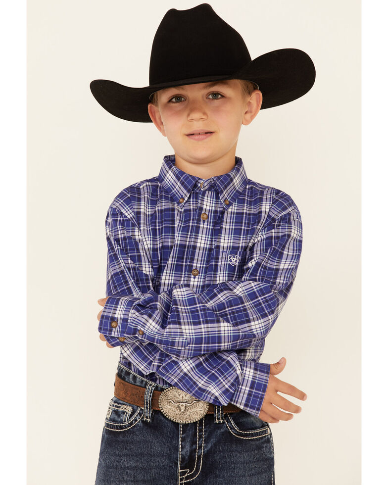 Ariat Boys' Paul Plaid Long Sleeve Button-Down Western Shirt , Navy, hi-res