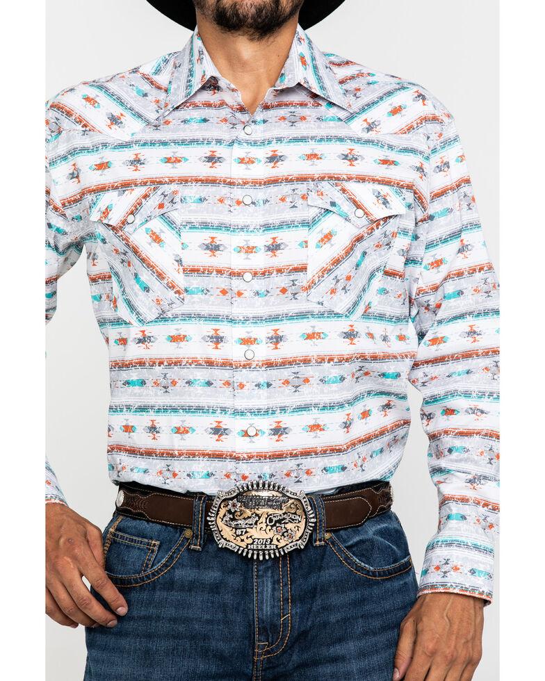 Rough Stock By Panhandle Men's Del Lago Aztec Print Long Sleeve Western Shirt , Light Grey, hi-res