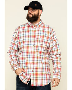 Ariat Men's FR Wine Ranier Plaid Long Sleeve Work Shirt , Wine, hi-res