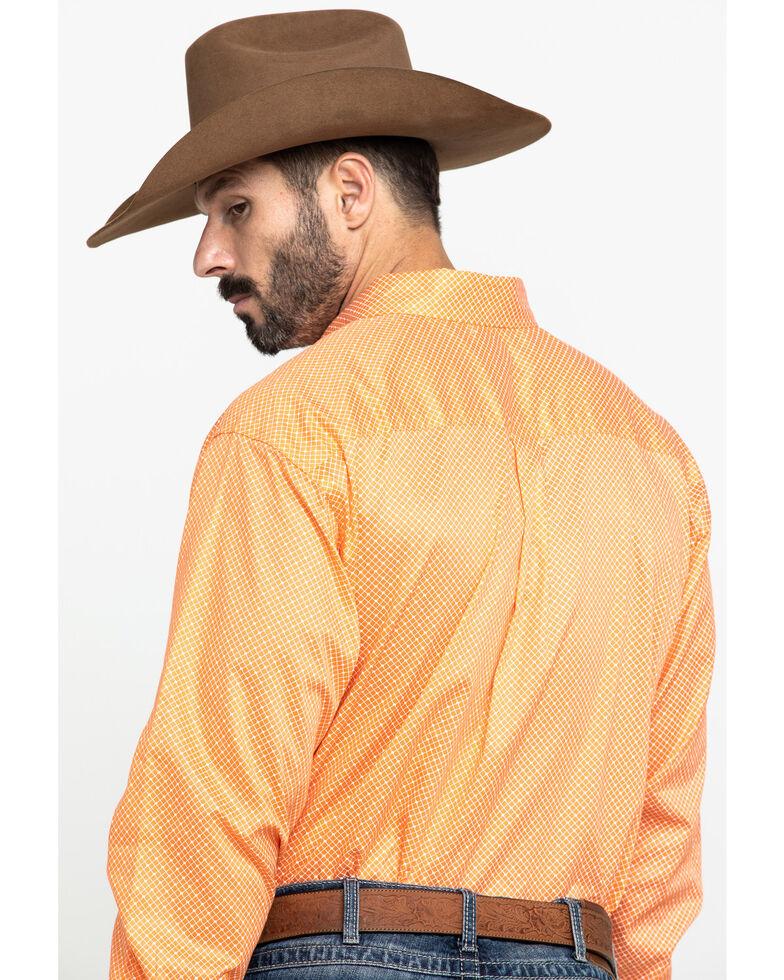 Cinch Men's Orange Diamond Geo Print Long Sleeve Western Shirt , Orange, hi-res