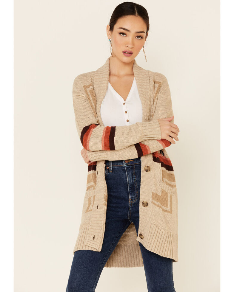 Pendleton Women's Harding Aztec Long Cardigan , Tan, hi-res