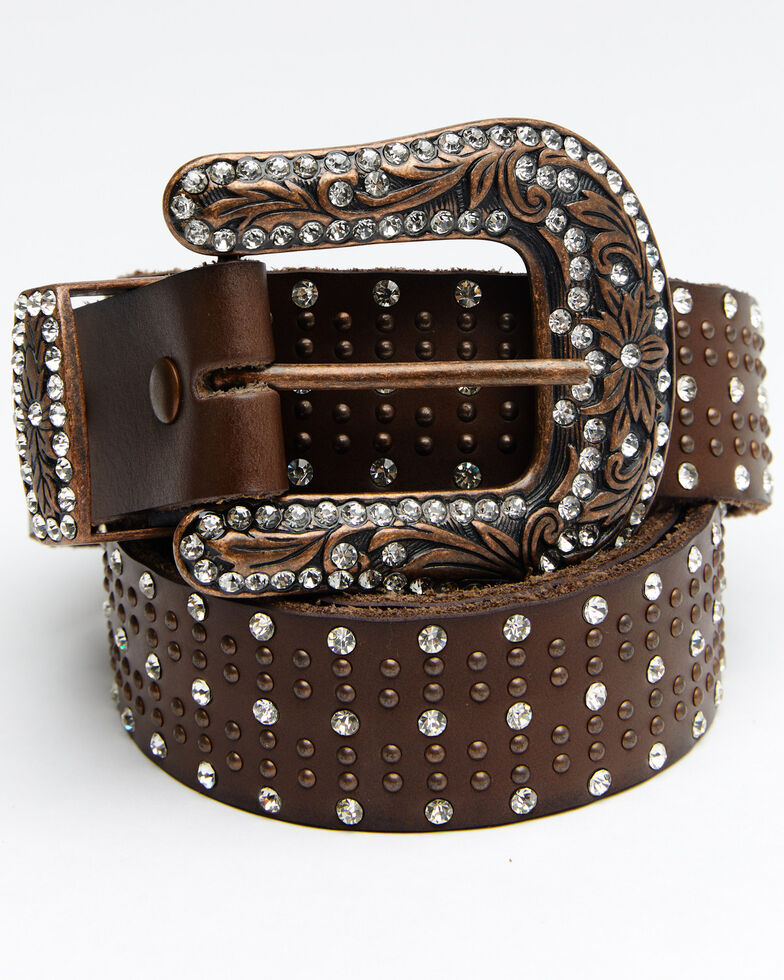 Shyanne Women's Triple Row Bling Belt, Brown, hi-res