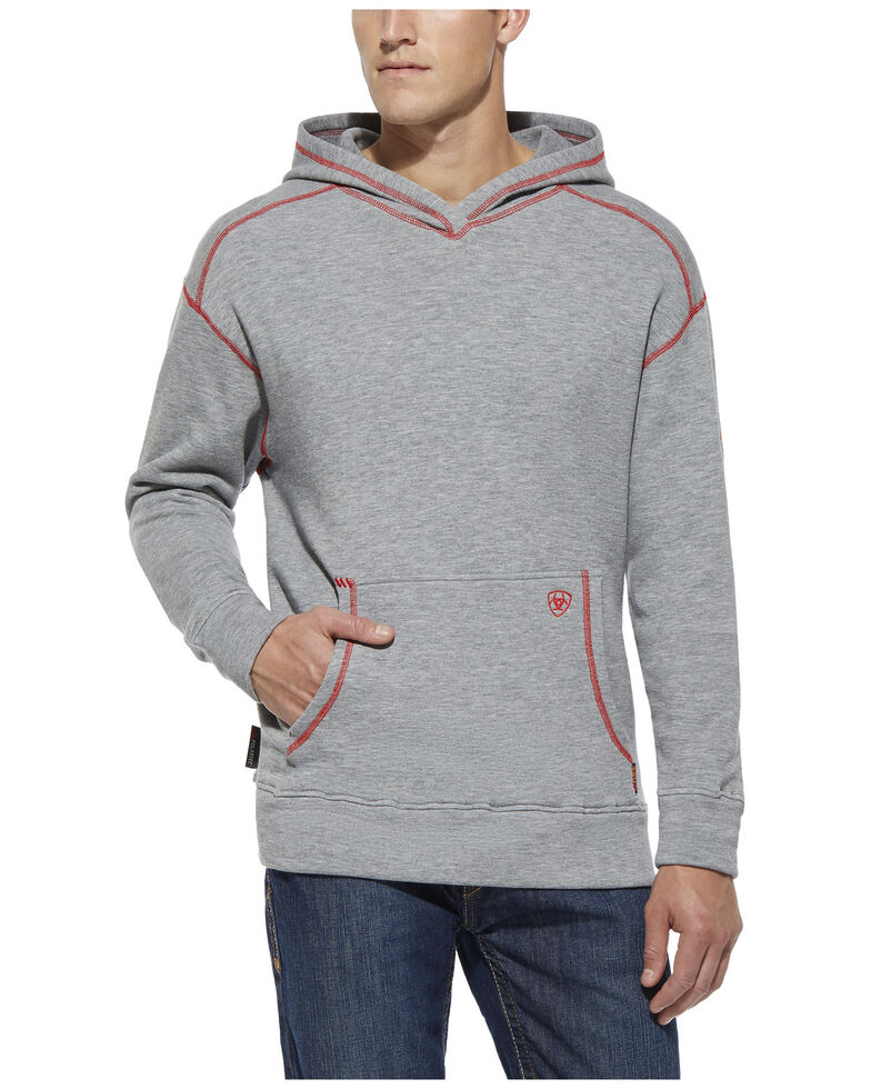 Ariat Men's Flame-Resistant Polartec Hooded Work Sweatshirt - Big , Grey, hi-res